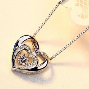 Jewelry - 18K Rose gold filled double heart necklace